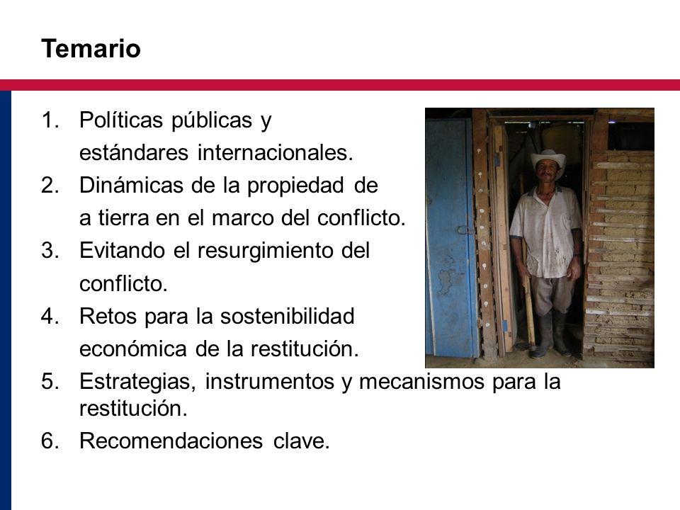 Temario 1.Políticas públicas y estándares internacionales. 2. Dinámicas de la propiedad de a tierra en el marco del conflicto. 3.Evitando el resurgimi
