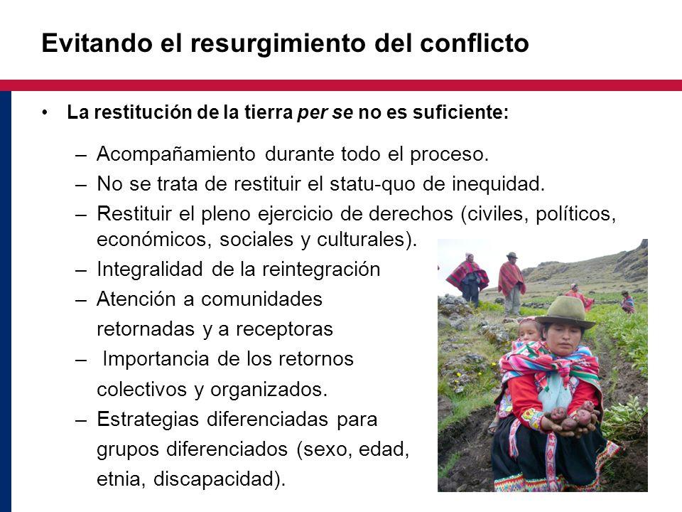 Evitando el resurgimiento del conflicto La restitución de la tierra per se no es suficiente: –Acompañamiento durante todo el proceso. –No se trata de