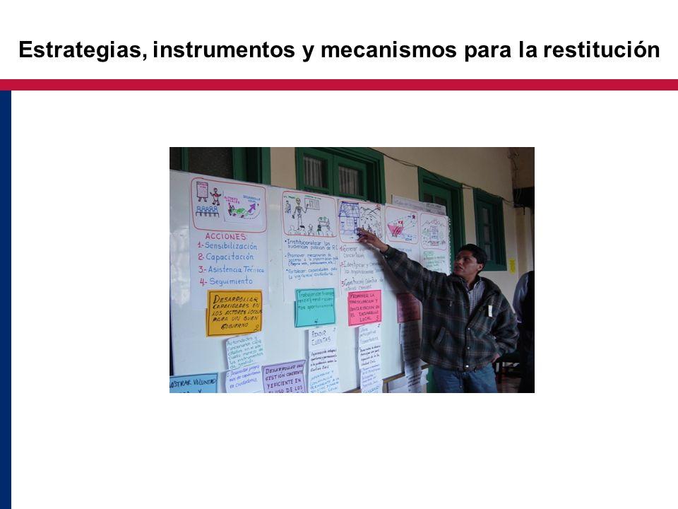 Estrategias, instrumentos y mecanismos para la restitución
