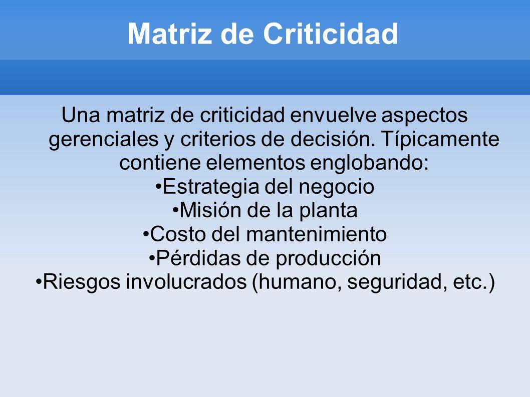 Matriz de Criticidad Una matriz de criticidad envuelve aspectos gerenciales y criterios de decisión. Típicamente contiene elementos englobando: Estrat