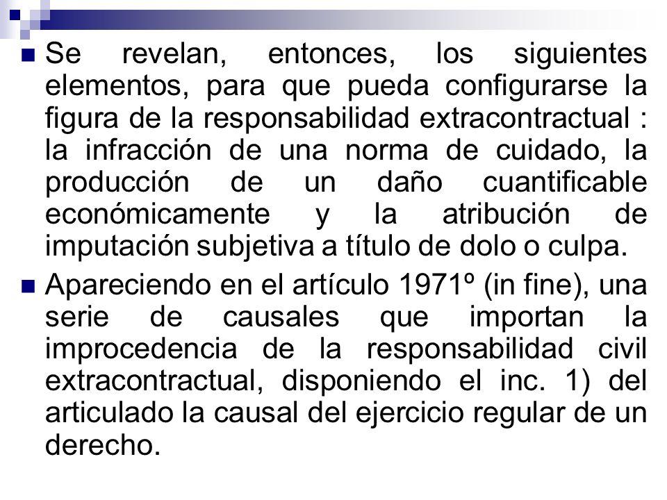 Se revelan, entonces, los siguientes elementos, para que pueda configurarse la figura de la responsabilidad extracontractual : la infracción de una no