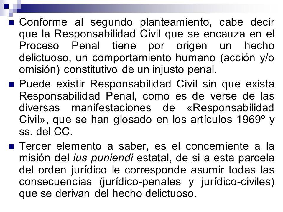 Conforme al segundo planteamiento, cabe decir que la Responsabilidad Civil que se encauza en el Proceso Penal tiene por origen un hecho delictuoso, un