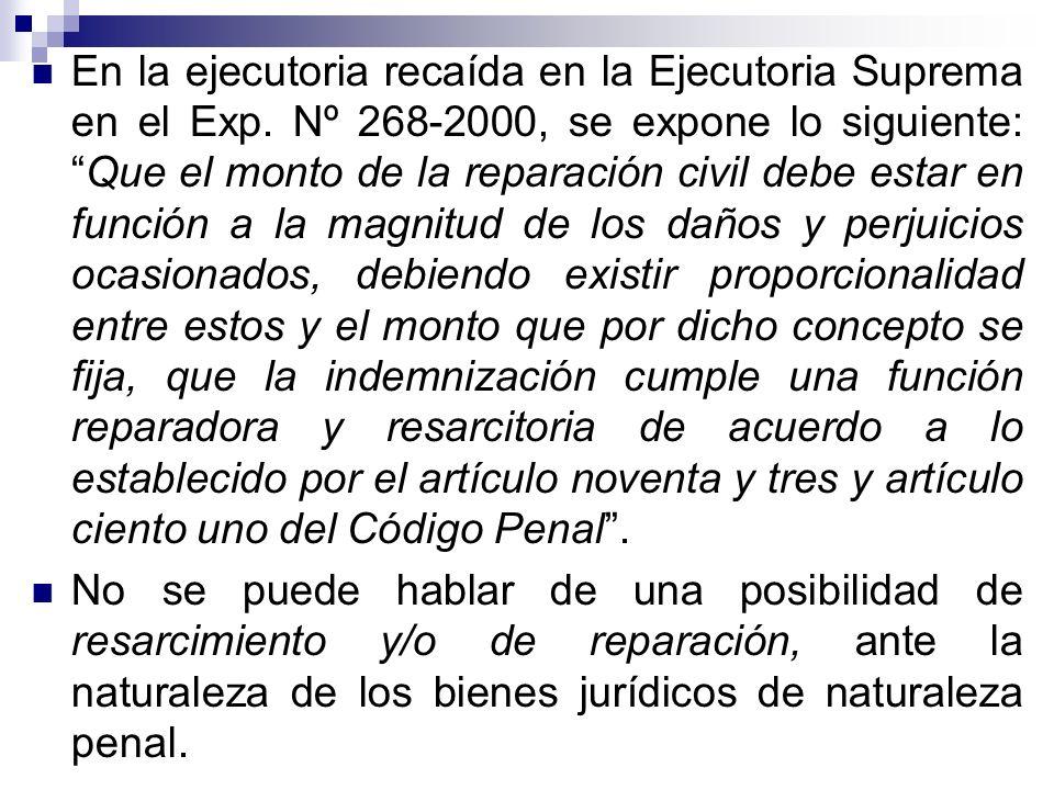 En la ejecutoria recaída en la Ejecutoria Suprema en el Exp. Nº 268-2000, se expone lo siguiente:Que el monto de la reparación civil debe estar en fun