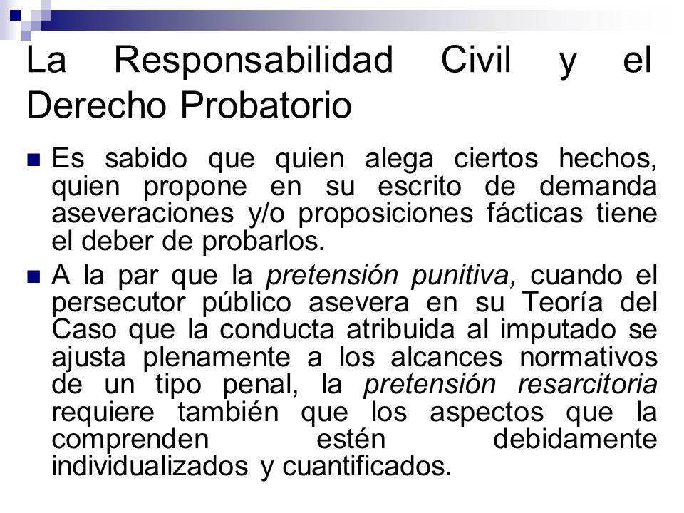 La Responsabilidad Civil y el Derecho Probatorio Es sabido que quien alega ciertos hechos, quien propone en su escrito de demanda aseveraciones y/o pr