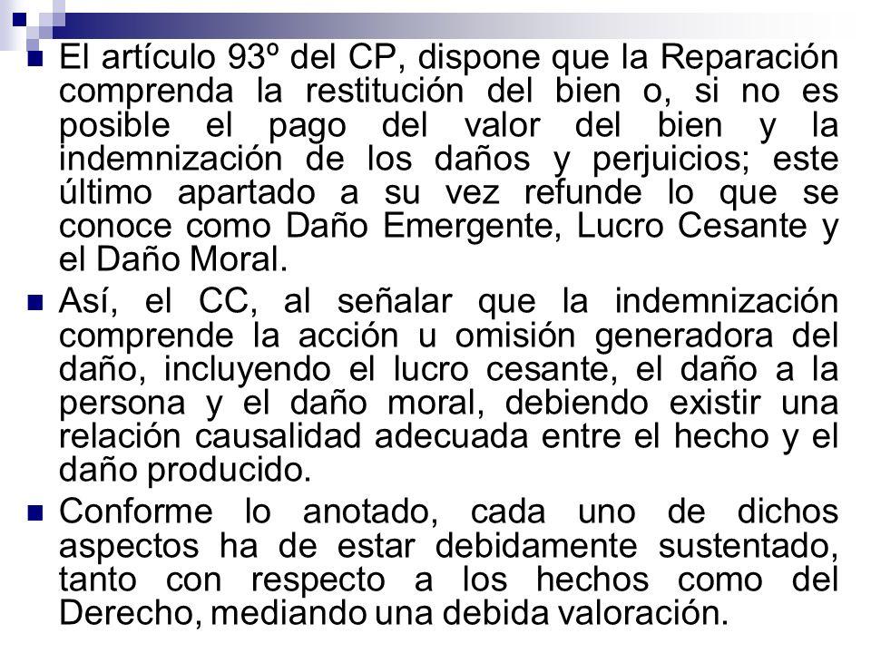 El artículo 93º del CP, dispone que la Reparación comprenda la restitución del bien o, si no es posible el pago del valor del bien y la indemnización