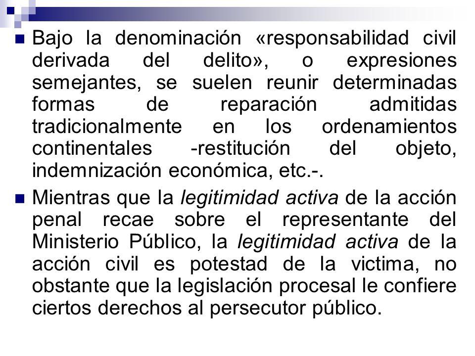 Bajo la denominación «responsabilidad civil derivada del delito», o expresiones semejantes, se suelen reunir determinadas formas de reparación admitid