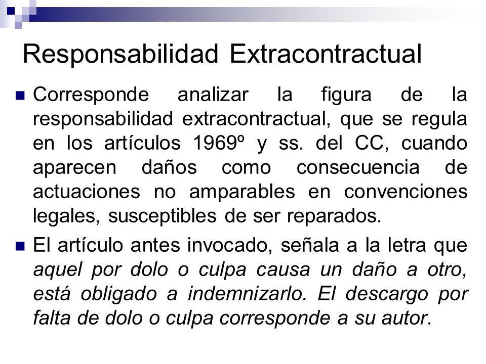 Responsabilidad Extracontractual Corresponde analizar la figura de la responsabilidad extracontractual, que se regula en los artículos 1969º y ss. del
