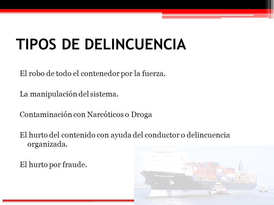TIPOS DE DELINCUENCIA El robo de todo el contenedor por la fuerza.