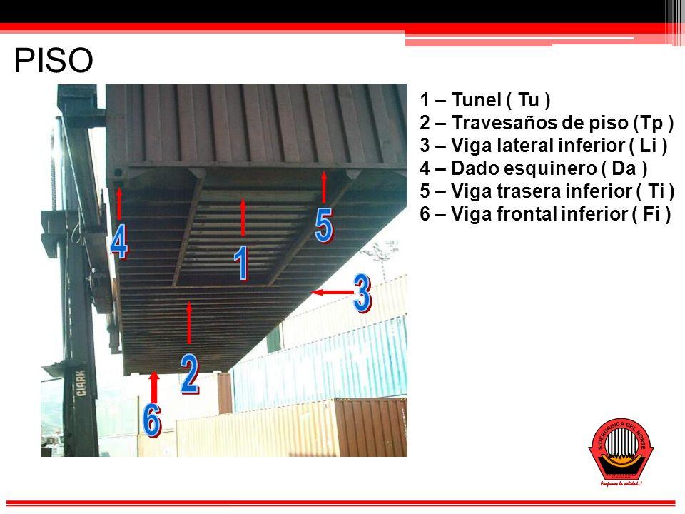 PISO 1 – Tunel ( Tu ) 2 – Travesaños de piso (Tp ) 3 – Viga lateral inferior ( Li ) 4 – Dado esquinero ( Da ) 5 – Viga trasera inferior ( Ti ) 6 – Viga frontal inferior ( Fi )