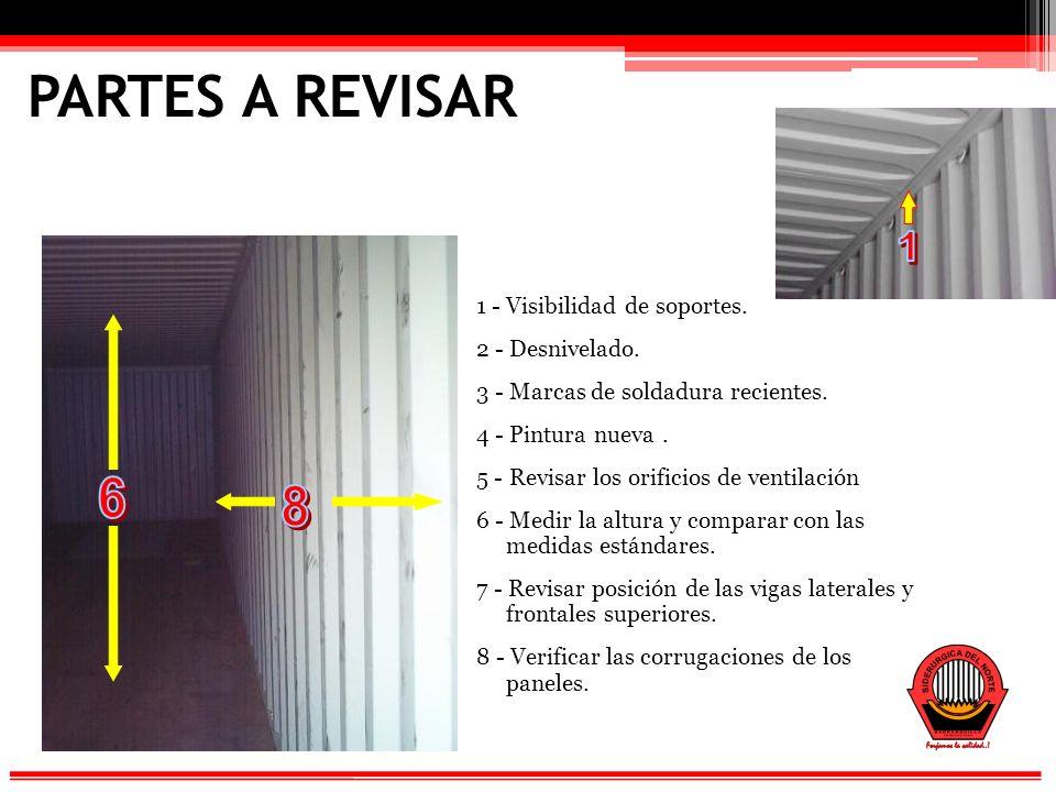 PARTES A REVISAR 1 - Visibilidad de soportes.2 - Desnivelado.