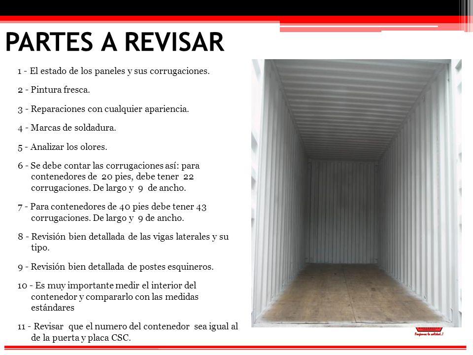 PARTES A REVISAR 1 - El estado de los paneles y sus corrugaciones.