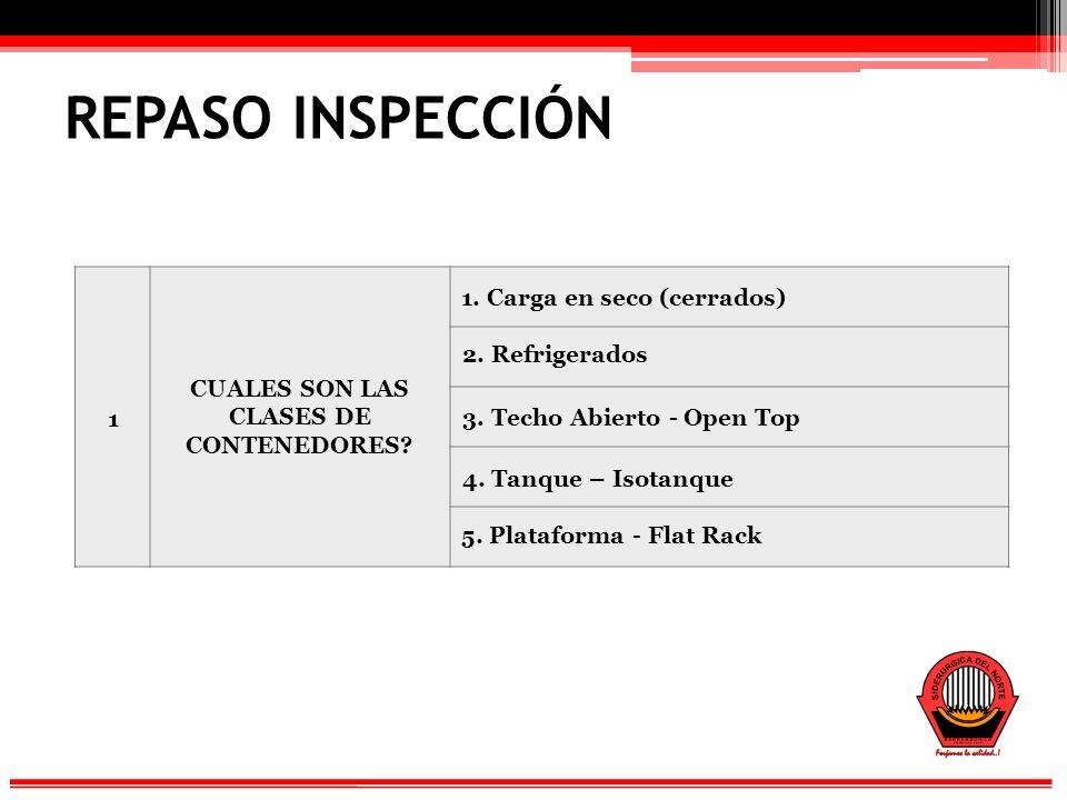 REPASO INSPECCIÓN 1 CUALES SON LAS CLASES DE CONTENEDORES.