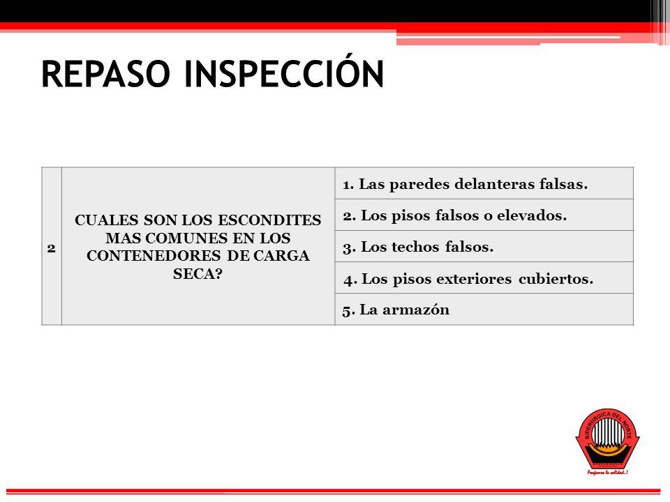 REPASO INSPECCIÓN 2 CUALES SON LOS ESCONDITES MAS COMUNES EN LOS CONTENEDORES DE CARGA SECA.
