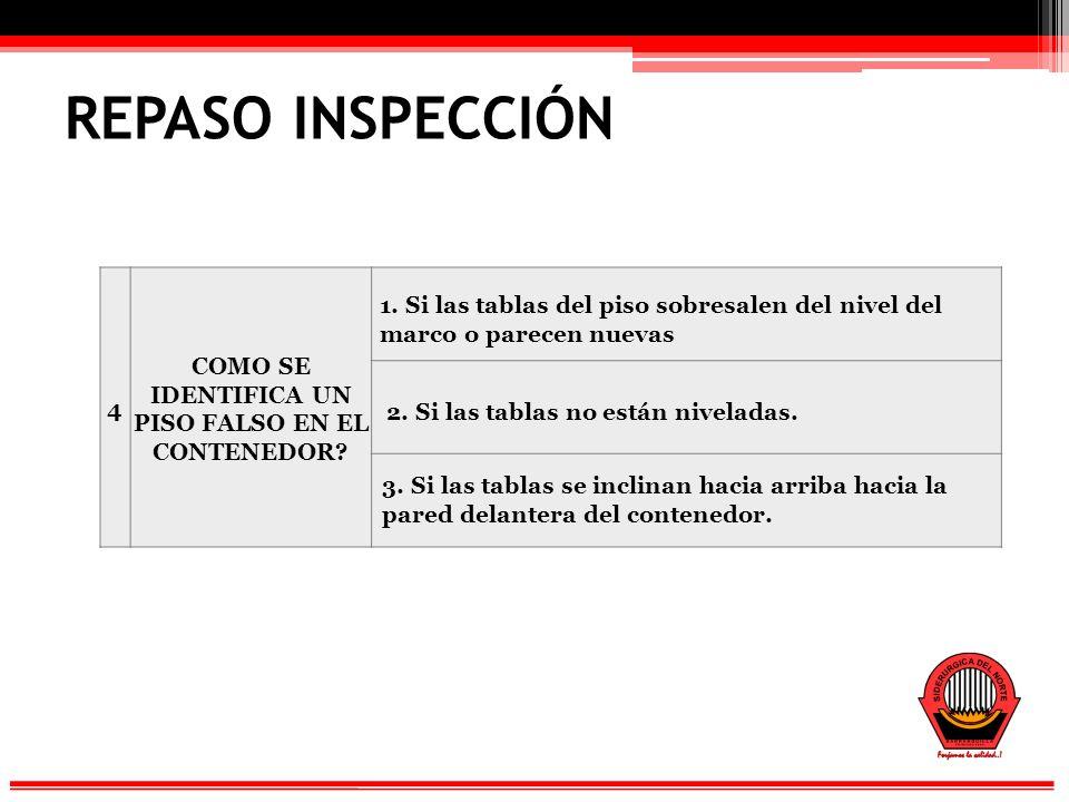REPASO INSPECCIÓN 4 COMO SE IDENTIFICA UN PISO FALSO EN EL CONTENEDOR.