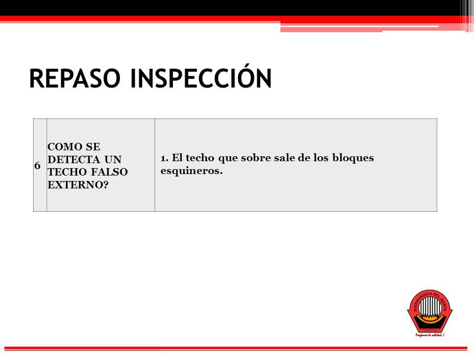 REPASO INSPECCIÓN 6 COMO SE DETECTA UN TECHO FALSO EXTERNO.