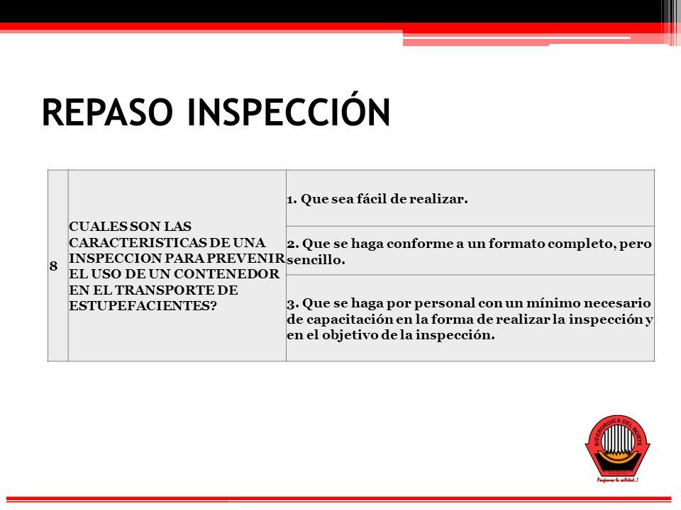 REPASO INSPECCIÓN 8 CUALES SON LAS CARACTERISTICAS DE UNA INSPECCION PARA PREVENIR EL USO DE UN CONTENEDOR EN EL TRANSPORTE DE ESTUPEFACIENTES.