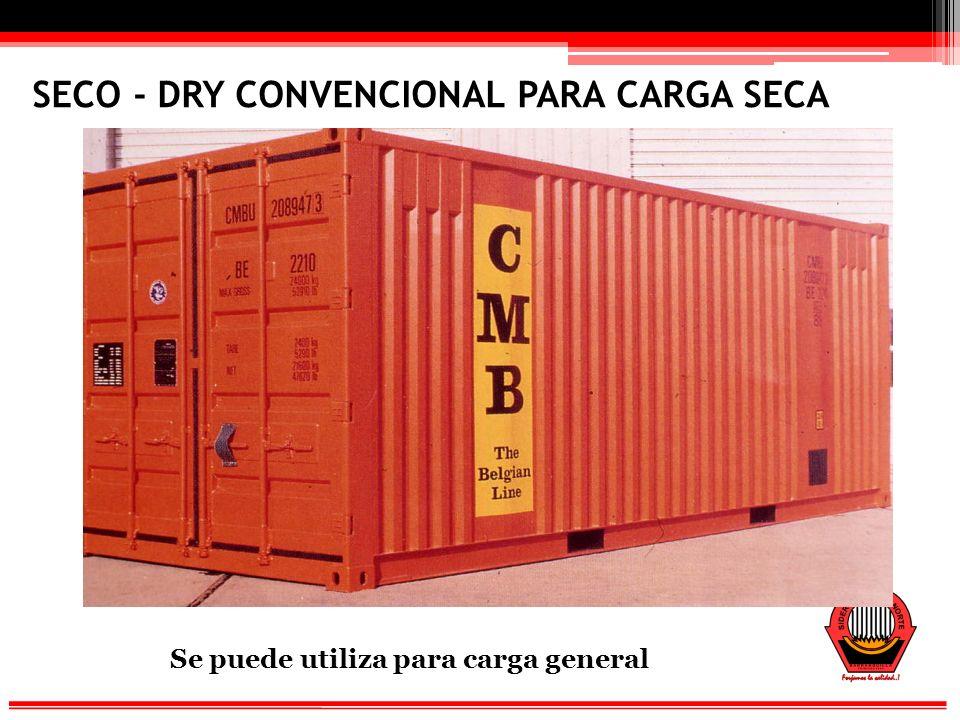 VENTILADO Se puede utiliza para carga especial (cacao, tabaco, etc)