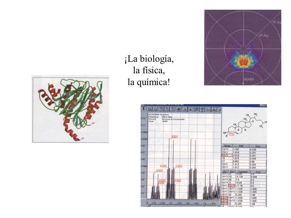 ¡La biología, la física, la química!