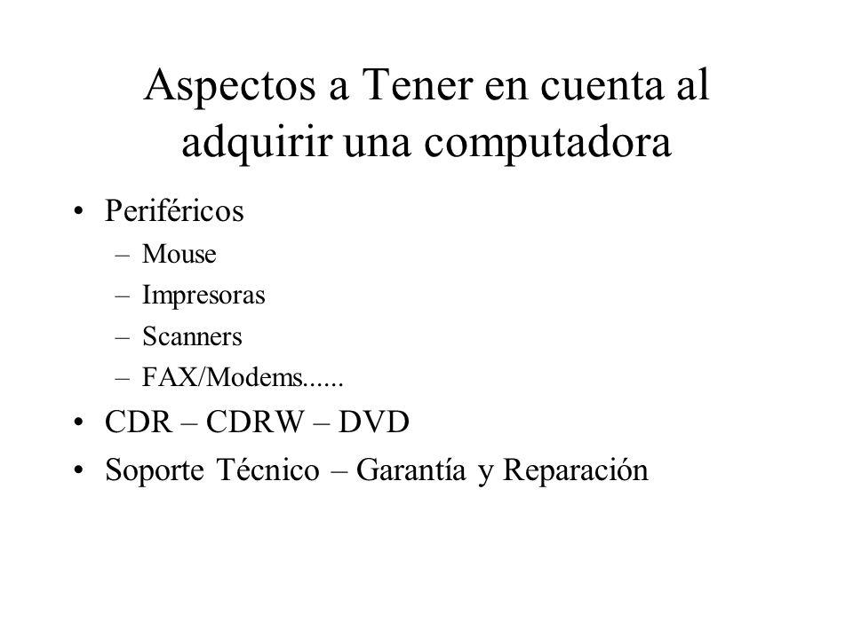 Aspectos a Tener en cuenta al adquirir una computadora Periféricos –Mouse –Impresoras –Scanners –FAX/Modems...... CDR – CDRW – DVD Soporte Técnico – G