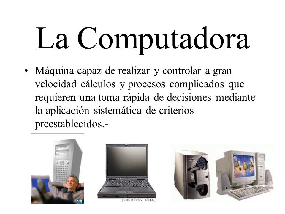 La Computadora Máquina capaz de realizar y controlar a gran velocidad cálculos y procesos complicados que requieren una toma rápida de decisiones medi