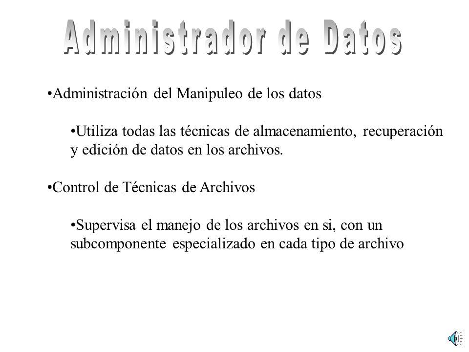 Administración del Manipuleo de los datos Utiliza todas las técnicas de almacenamiento, recuperación y edición de datos en los archivos. Control de Té