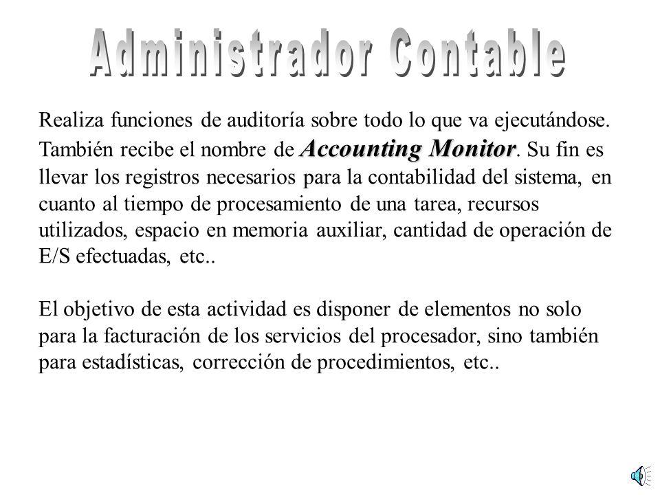 Realiza funciones de auditoría sobre todo lo que va ejecutándose. Accounting Monitor También recibe el nombre de Accounting Monitor. Su fin es llevar