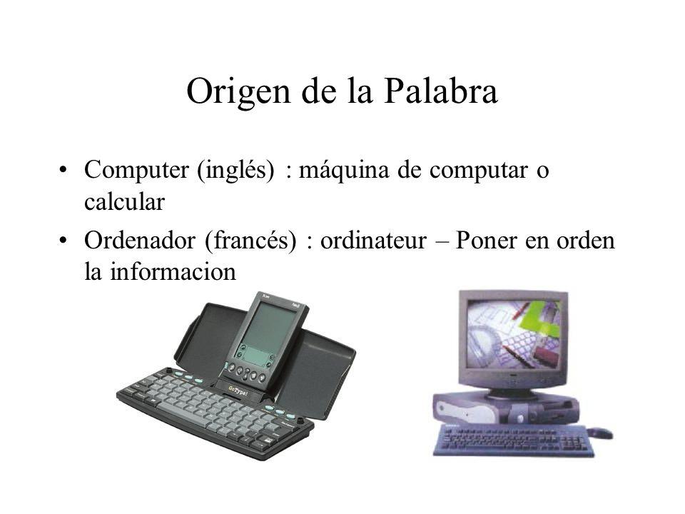 Origen de la Palabra Computer (inglés) : máquina de computar o calcular Ordenador (francés) : ordinateur – Poner en orden la informacion