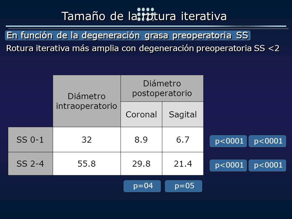 Diámetro intraoperatorio Diámetro postoperatorio CoronalSagital SS 0-1328.96.7 SS 2-455.829.821.4 En función de la degeneración grasa preoperatoria SS
