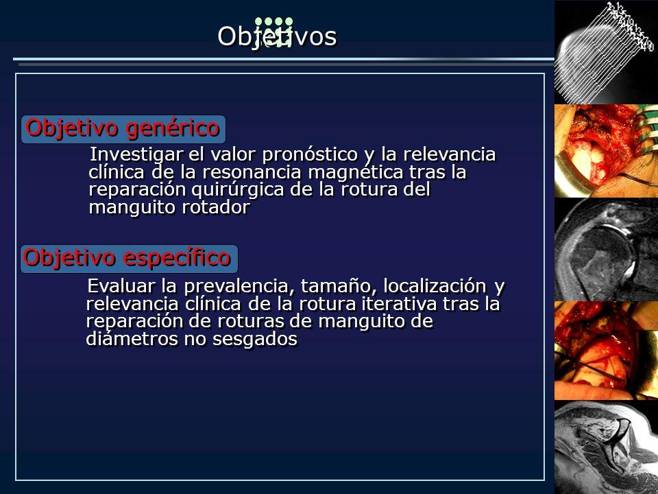 Objetivos Objetivo genérico Evaluar la prevalencia, tamaño, localización y relevancia clínica de la rotura iterativa tras la reparación de roturas de