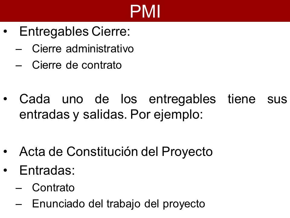 Entregables Cierre: –Cierre administrativo –Cierre de contrato Cada uno de los entregables tiene sus entradas y salidas. Por ejemplo: Acta de Constitu
