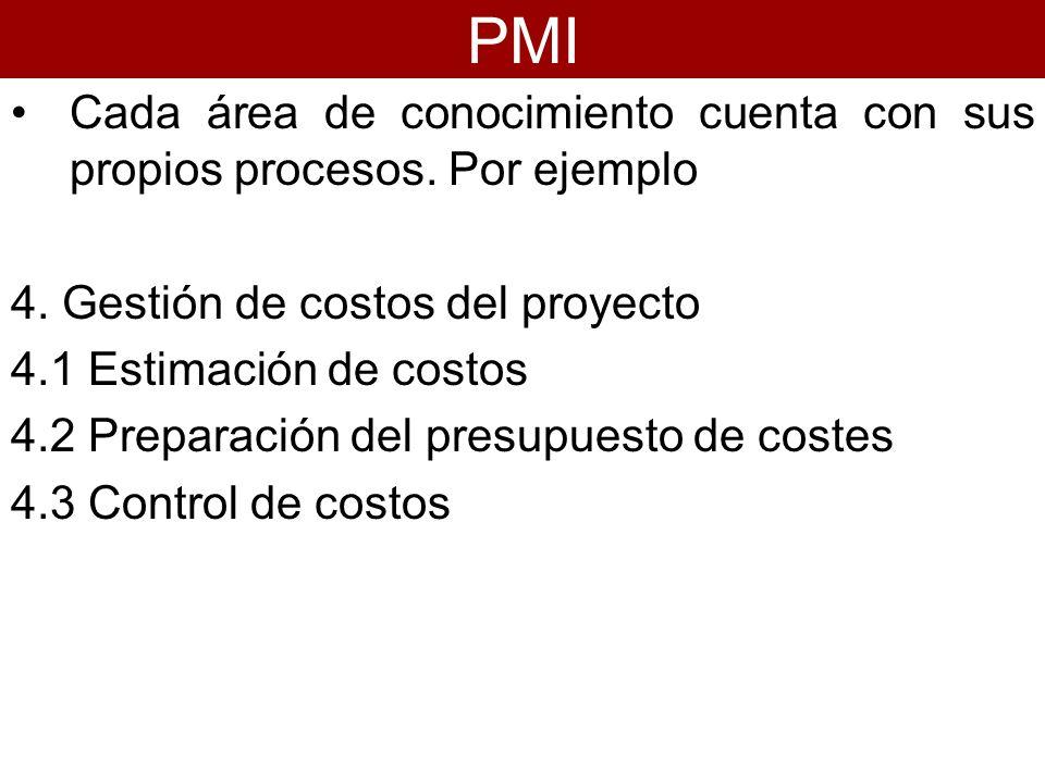 Cada área de conocimiento cuenta con sus propios procesos. Por ejemplo 4. Gestión de costos del proyecto 4.1 Estimación de costos 4.2 Preparación del