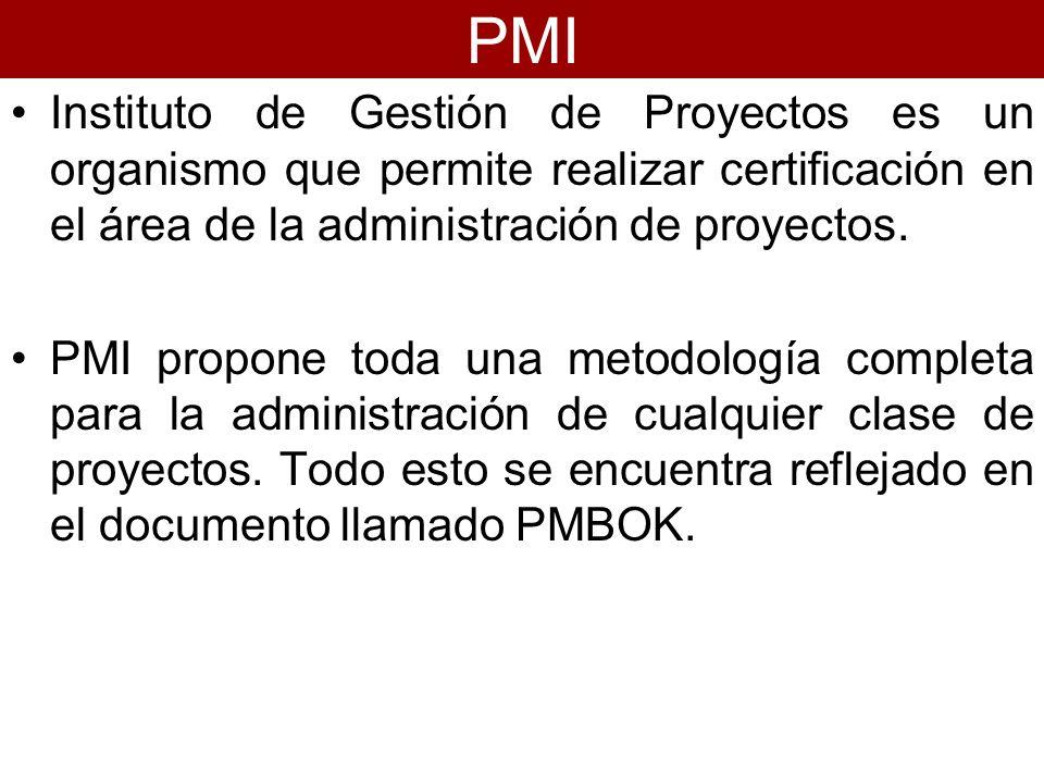 Instituto de Gestión de Proyectos es un organismo que permite realizar certificación en el área de la administración de proyectos. PMI propone toda un