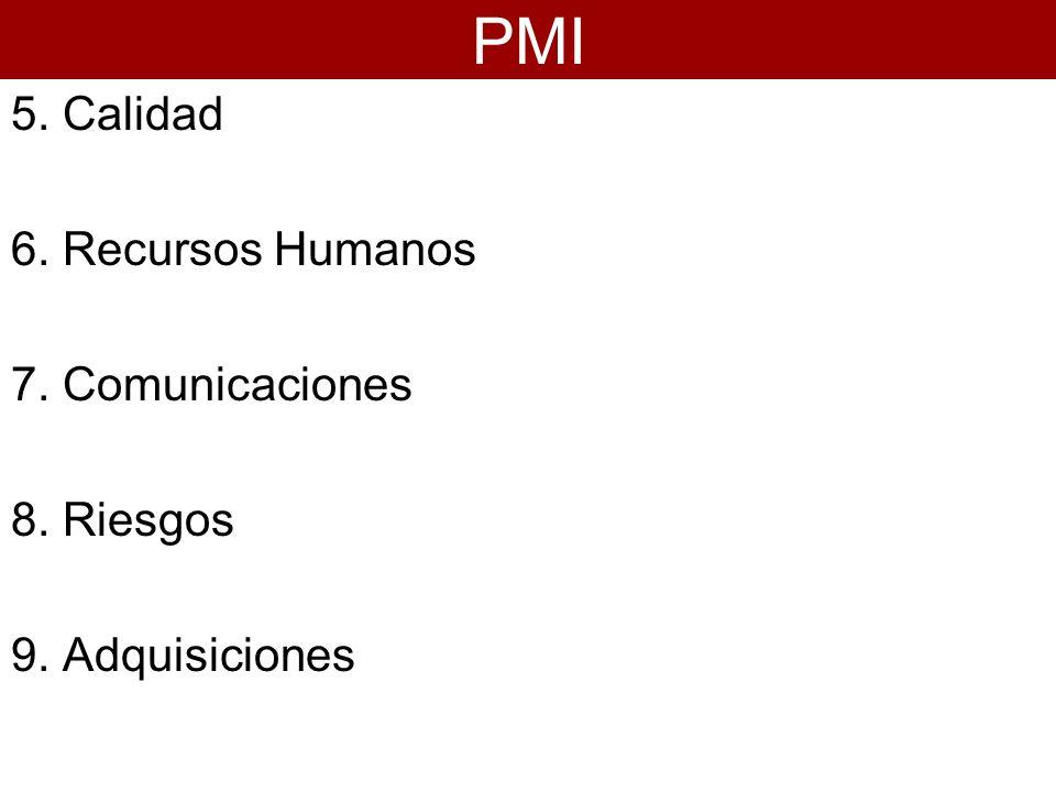 5. Calidad 6. Recursos Humanos 7. Comunicaciones 8. Riesgos 9. Adquisiciones PMI