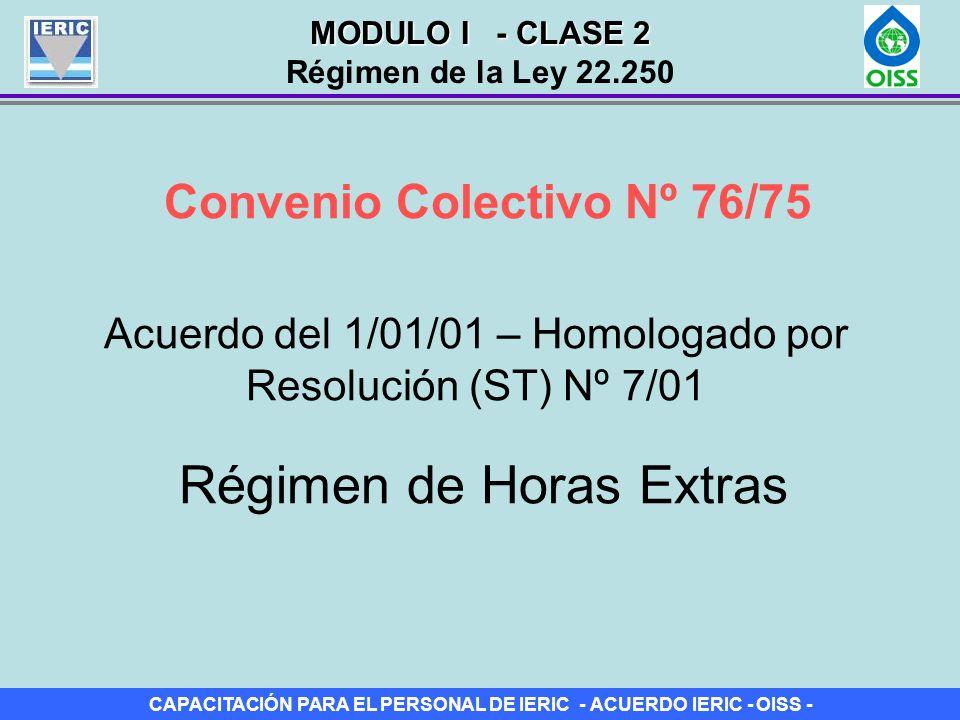 CAPACITACIÓN PARA EL PERSONAL DE IERIC - ACUERDO IERIC - OISS - Convenio Colectivo Nº 76/75 Acuerdo del 1/01/01 – Homologado por Resolución (ST) Nº 7/