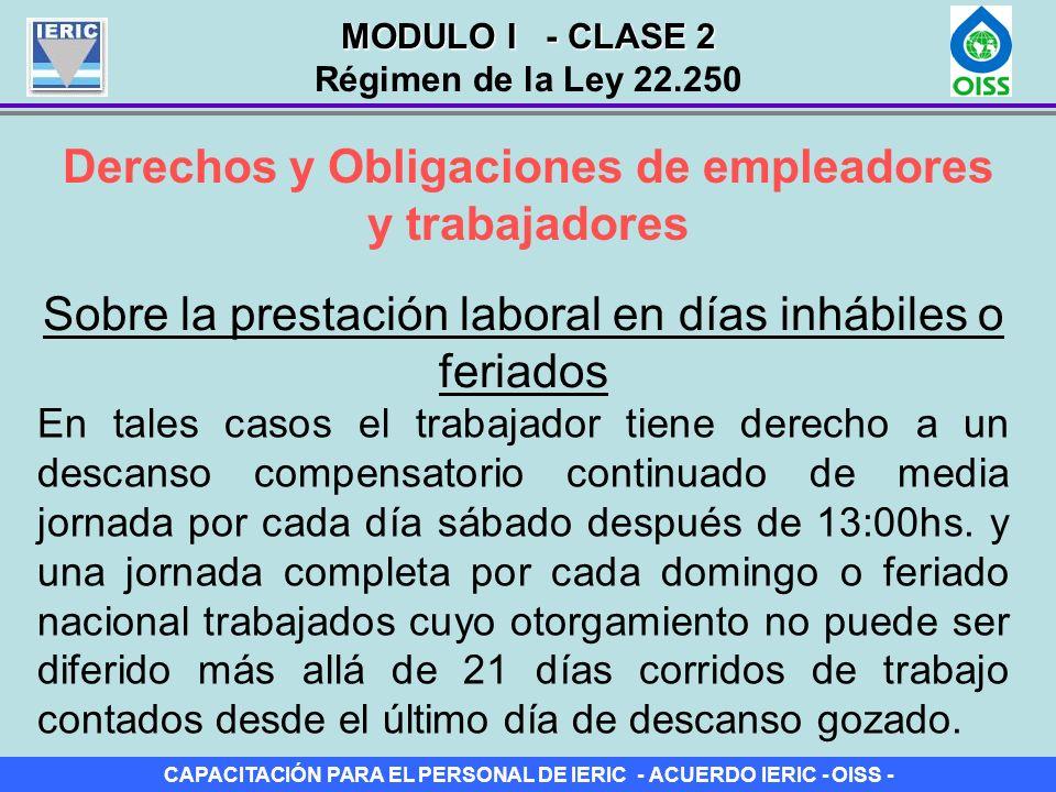 CAPACITACIÓN PARA EL PERSONAL DE IERIC - ACUERDO IERIC - OISS - Derechos y Obligaciones de empleadores y trabajadores Sobre la prestación laboral en d