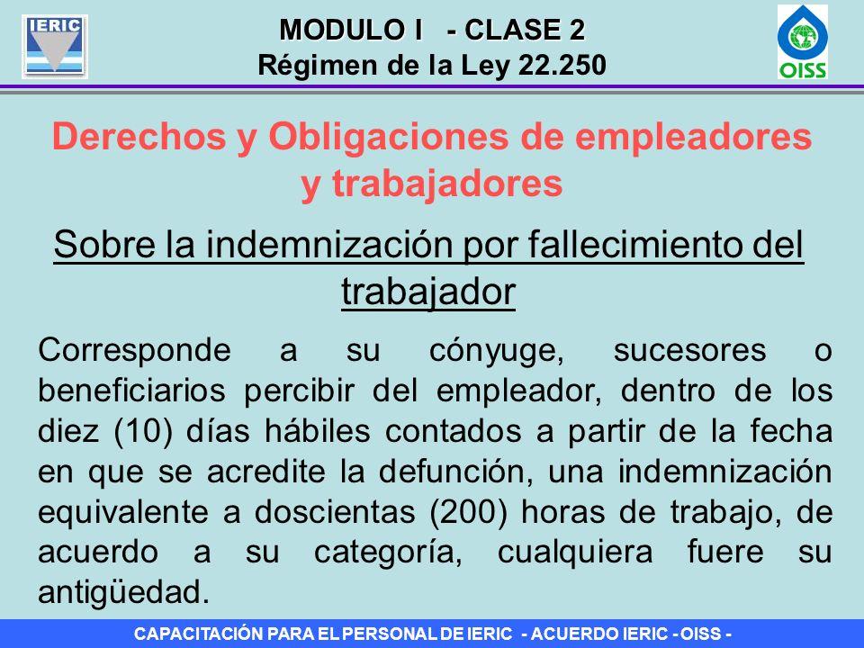 CAPACITACIÓN PARA EL PERSONAL DE IERIC - ACUERDO IERIC - OISS - Derechos y Obligaciones de empleadores y trabajadores Sobre la indemnización por falle
