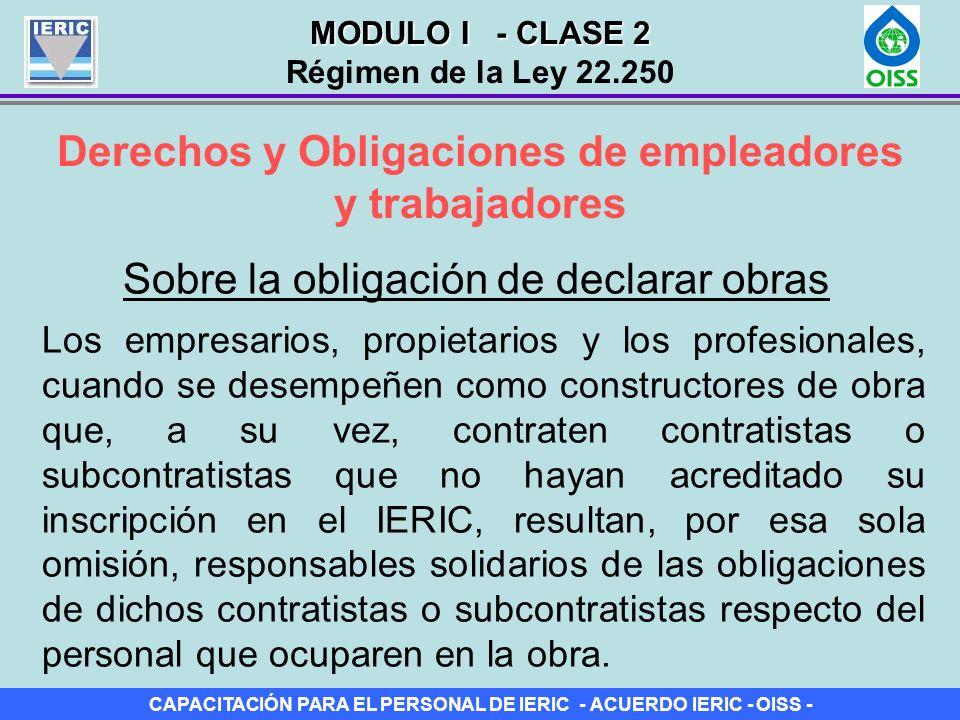 CAPACITACIÓN PARA EL PERSONAL DE IERIC - ACUERDO IERIC - OISS - Derechos y Obligaciones de empleadores y trabajadores Sobre la obligación de declarar