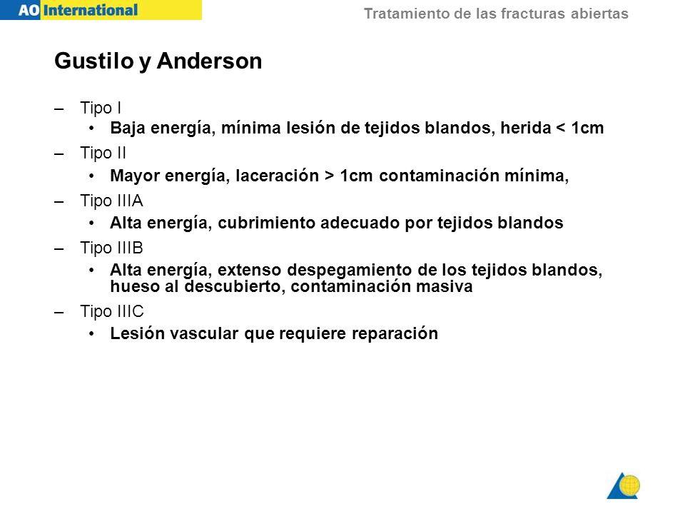 Tratamiento de las fracturas abiertas Gustilo y Anderson –Tipo I Baja energía, mínima lesión de tejidos blandos, herida < 1cm –Tipo II Mayor energía,