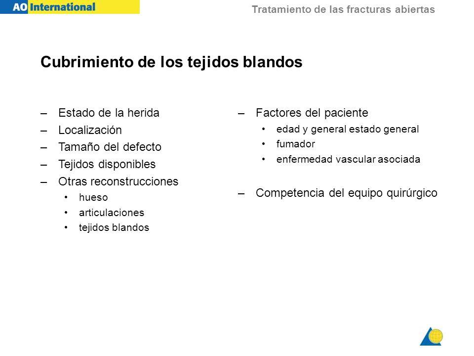 Tratamiento de las fracturas abiertas Cubrimiento de los tejidos blandos –Estado de la herida –Localización –Tamaño del defecto –Tejidos disponibles –