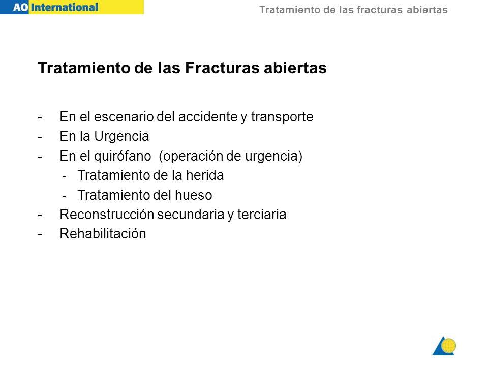 Tratamiento de las fracturas abiertas Tratamiento de las Fracturas abiertas - En el escenario del accidente y transporte - En la Urgencia - En el quir