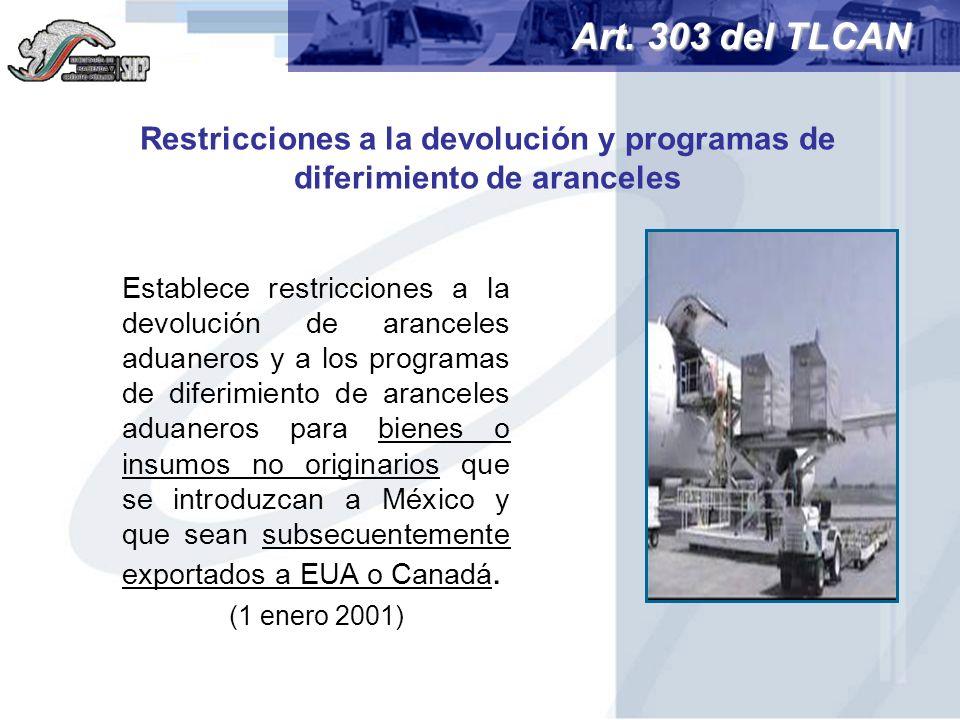 Restricciones a la devolución y programas de diferimiento de aranceles Establece restricciones a la devolución de aranceles aduaneros y a los programa