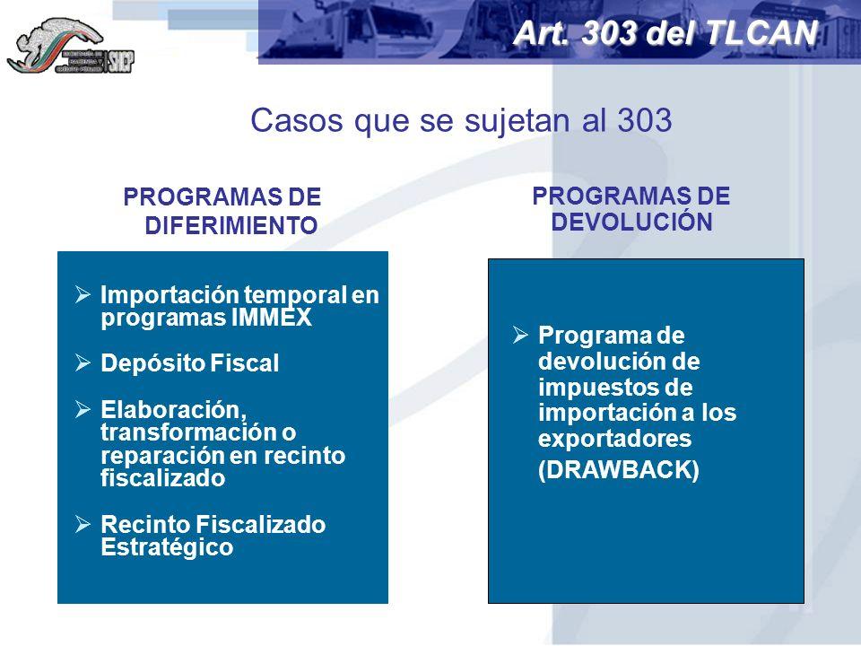 Casos que se sujetan al 303 PROGRAMAS DE DIFERIMIENTO Programa de devolución de impuestos de importación a los exportadores (DRAWBACK) Art. 303 del TL
