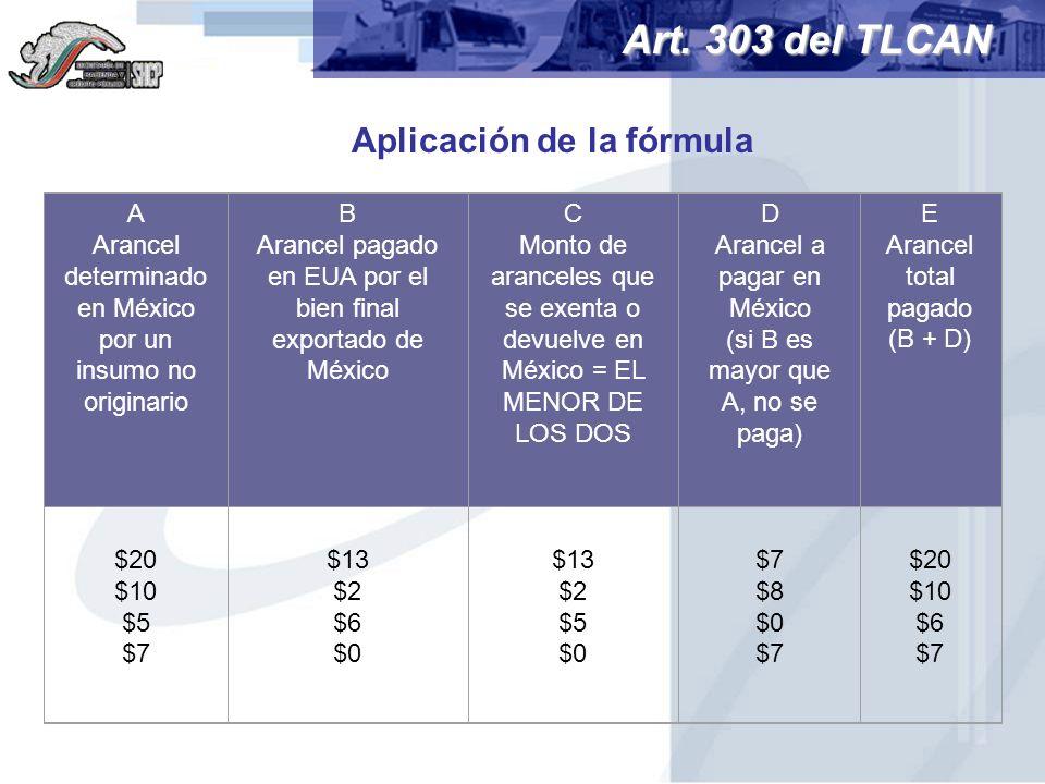 Art. 303 del TLCAN A Arancel determinado en México por un insumo no originario B Arancel pagado en EUA por el bien final exportado de México C Monto d