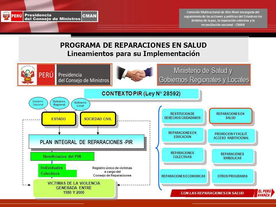 PROGRAMA DE REPARACIONES EN SALUD Lineamientos para su Implementación Ministerio de Salud y Gobiernos Regionales y Locales CON LAS REPARACIONES EN SAL