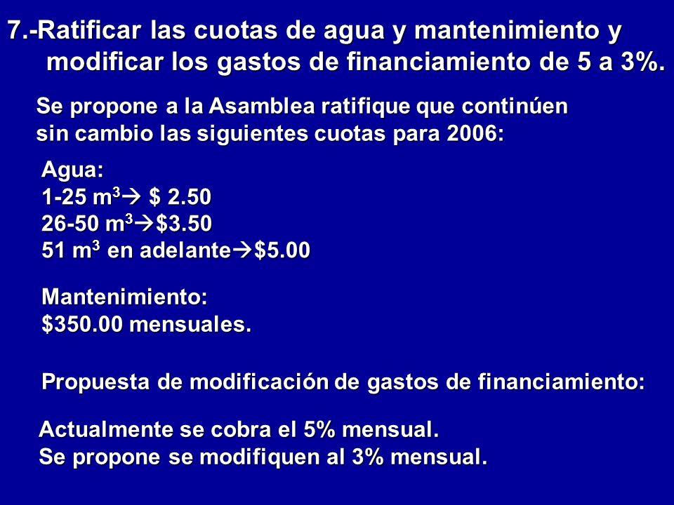 7.-Ratificar las cuotas de agua y mantenimiento y modificar los gastos de financiamiento de 5 a 3%.