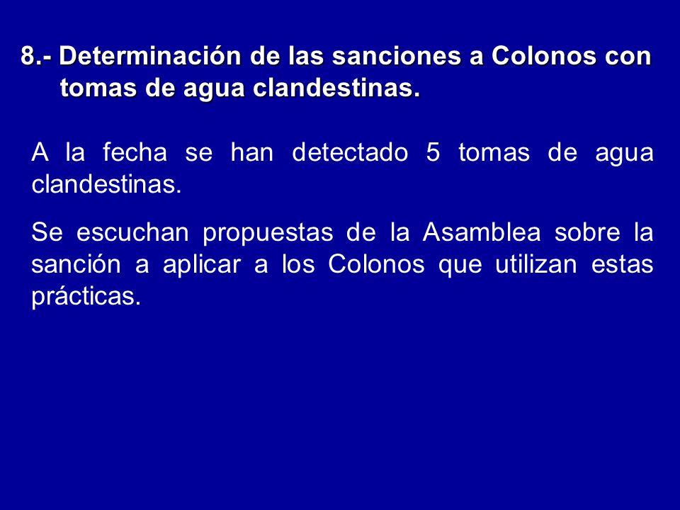 8.- Determinación de las sanciones a Colonos con tomas de agua clandestinas.