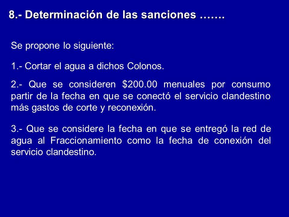 8.- Determinación de las sanciones …….