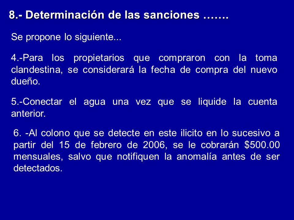 8.- Determinación de las sanciones …….Se propone lo siguiente...