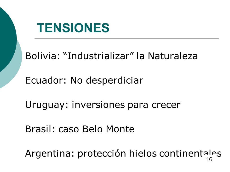 TENSIONES Bolivia: Industrializar la Naturaleza Ecuador: No desperdiciar Uruguay: inversiones para crecer Brasil: caso Belo Monte Argentina: protecció