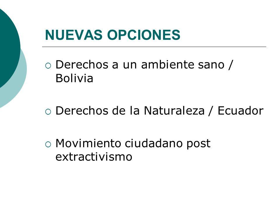 NUEVAS OPCIONES Derechos a un ambiente sano / Bolivia Derechos de la Naturaleza / Ecuador Movimiento ciudadano post extractivismo